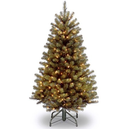 National Tree Pre-Lit 4-1/2' North Valley Spruce Hinged Artificial Christmas Tree with 200 Clear Lights