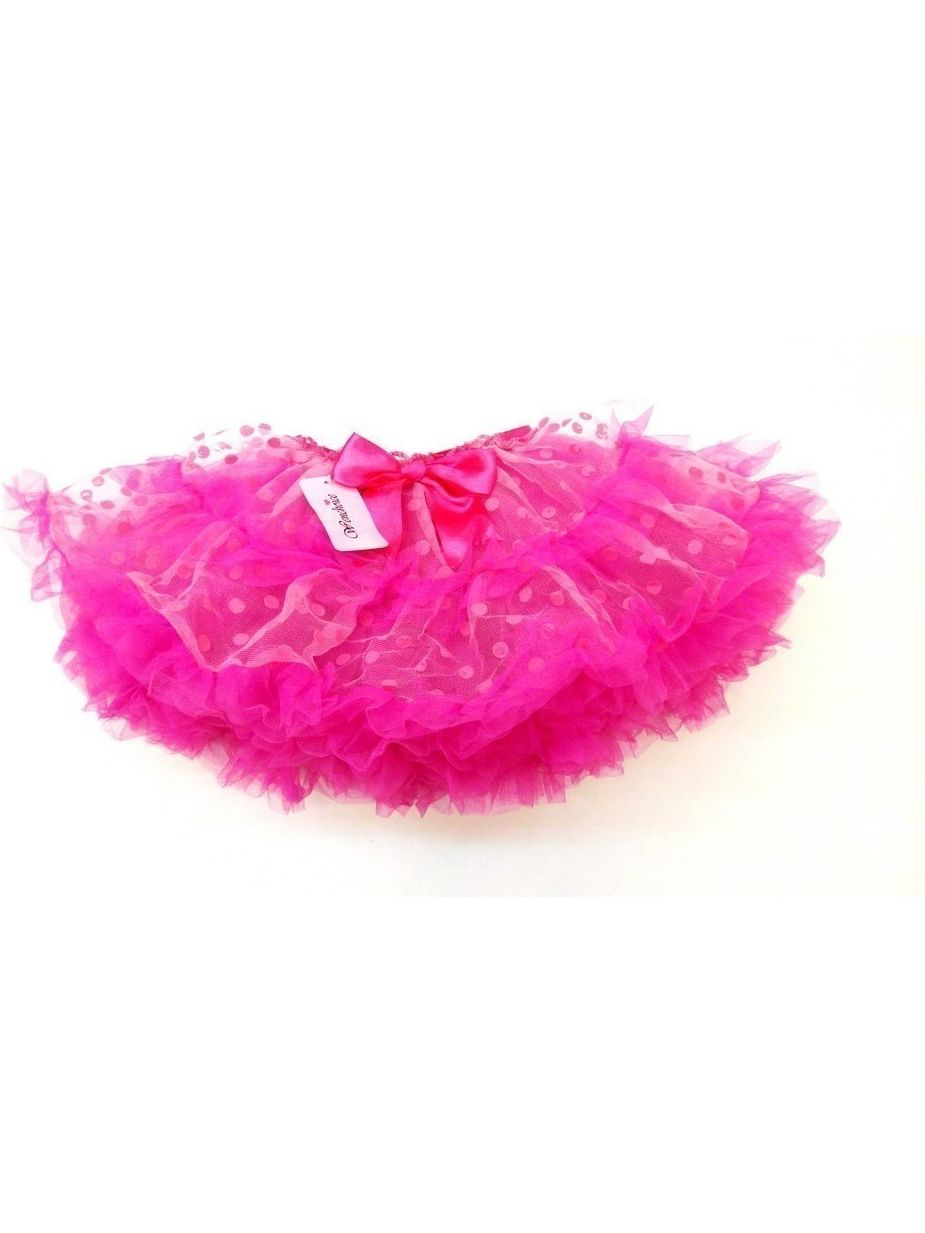 Pink Dots Fluffy Trim Tutu Skirt Girls L