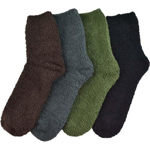 "MUK LUKS Men's 8"" Micro Chenille 4 Pair Sock Pack"