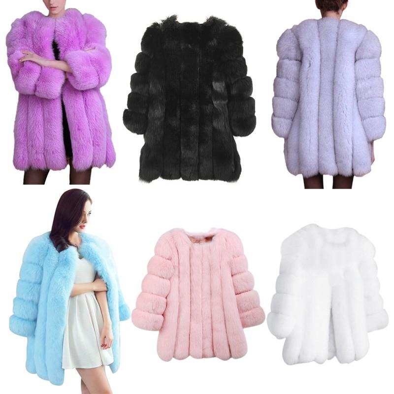 Womens Soft Faux Fur Long Coat Jacket Cardigan Thick Warm Parka Outwear Overcoat by