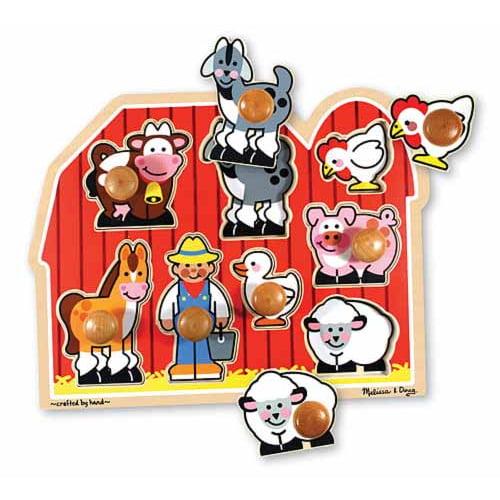 Melissa & Doug Farm Animals Jumbo Knob Wooden Puzzle by Melissa & Doug