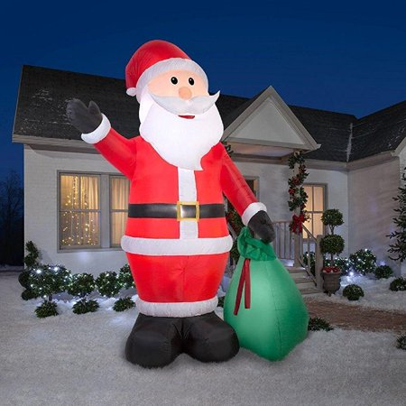 Christmas inflatole giant 12 39 waving santa w gift sack for Airblown decoration