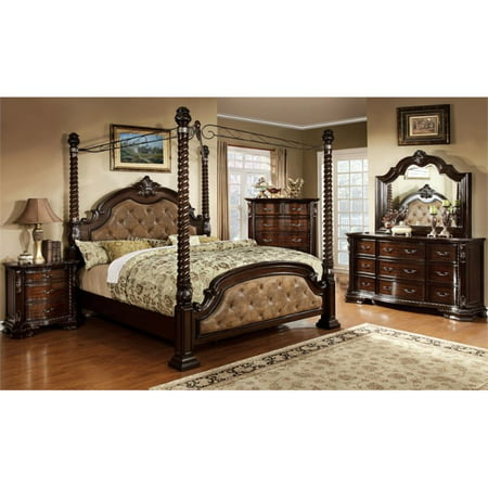 furniture of america cathey 4 piece queen canopy bedroom set. Black Bedroom Furniture Sets. Home Design Ideas