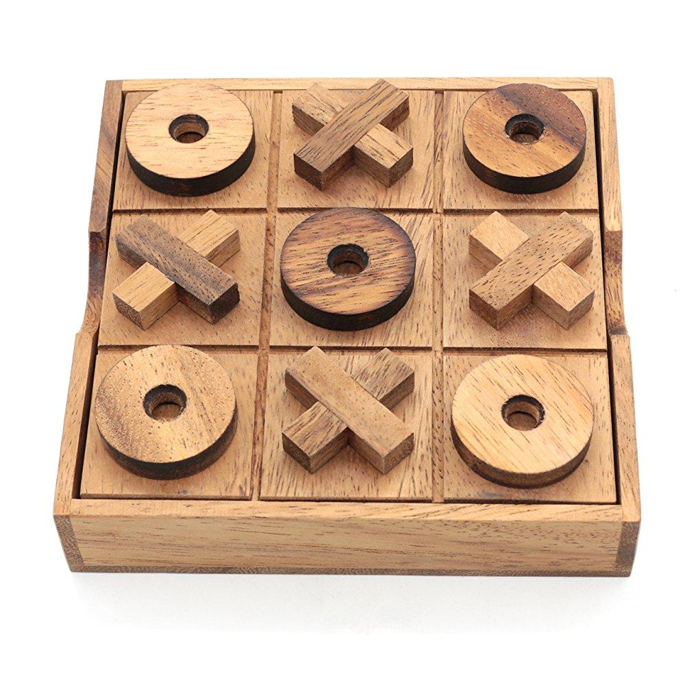 bsiri tictactoe wooden board games noughts and crosses family brain teaser puzzle coffee table