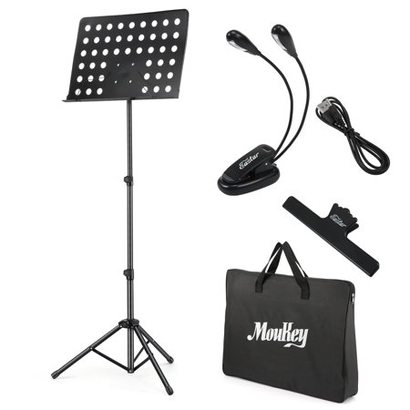 Moukey MMS-2 Metal Adjustable Sheet Music Stand Portable With Music Stand Light Carrying Bag Black (Portable Music Stand)