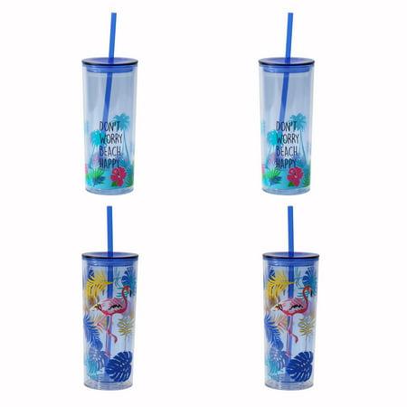 Mainstays 4-Pack 21oz Double Wall Plastic Tumbler, - Plastic Glassware