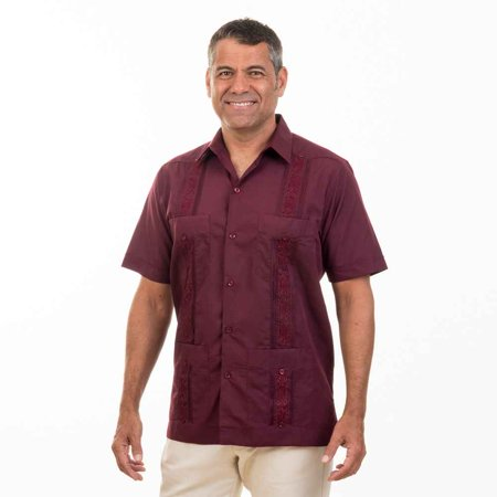 Embroidered cotton blend guayabera. SIZE:L COLOR:BRG for $<!---->
