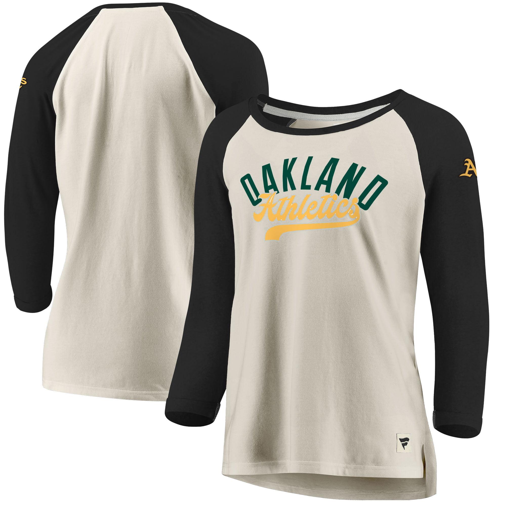 Oakland Athletics Fanatics Branded Women's Heritage Open Raglan Tri-Blend 3/4-Sleeve T-Shirt - Cream/Black