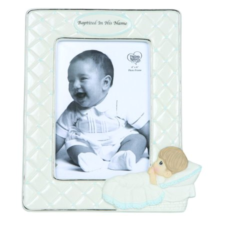 Precious Moments Baptized In His Name Bisque Porcelain Photo Frame Boy - Baptism Frame