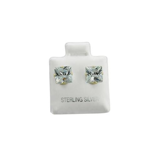 ZilverZoom SCZ100-4MM Sterling Silver Cz 4mm Square Studs