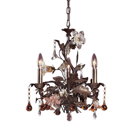 Floret 3 Light - New Product  Cristallo Fiore 3 Light Chandelier In Deep Rust With Crystal Florets 85001 Sold by VaasuHomes