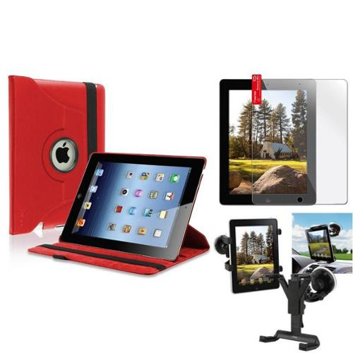 Insten Black Car Mount Windshield Holder+Red 360 Leather Case+Cover for iPad 4 3 2 (Supports Auto Sleep\/Wake)