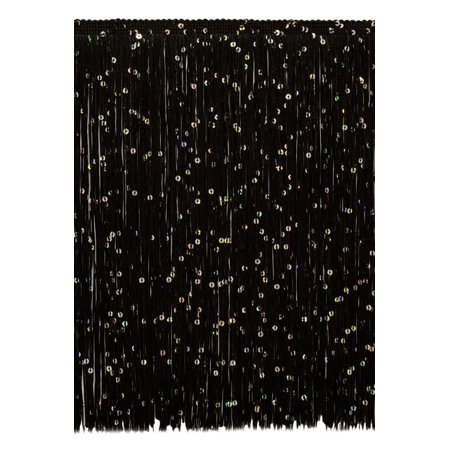 (12 Inch Chainette Sequin Fringe Trim, CFS12 Color: Black - K9, Sold By the Yard)