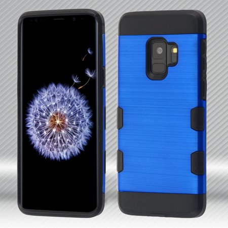 Insten Tuff Trooper Dual Layer Hybrid Brushed PC/TPU Rubber Case Cover For Samsung Galaxy S9 - Dark Blue/Black (Bundle with USB Type C Cable) - image 1 of 3