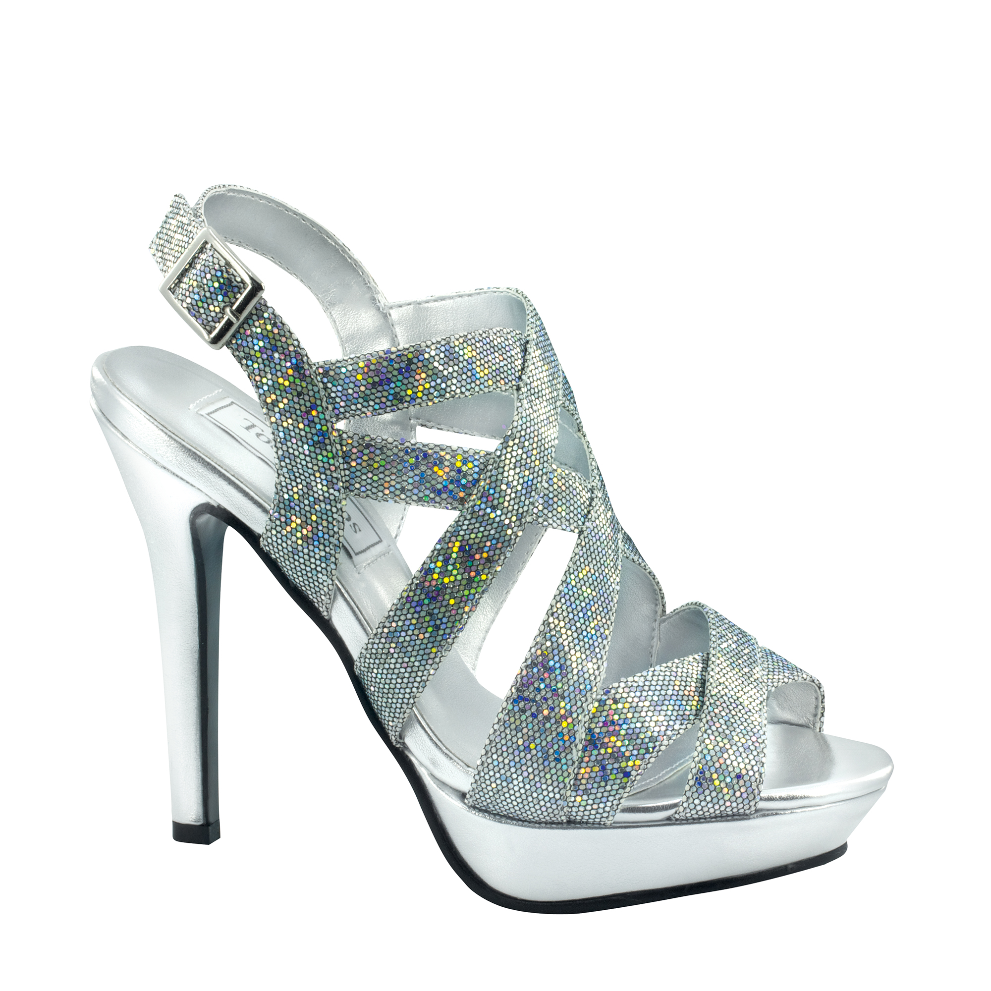 Touch Ups Womens Rita Platform Sandal,Silver Iridescent,6.5 M US