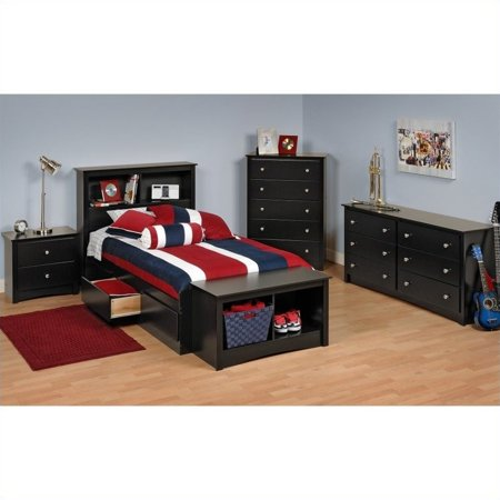 Prepac Sonoma Black Twin Platform Storage Bed 7 Piece