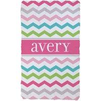 Chevron Name Personalized Plush Fleece Blanket For Girls