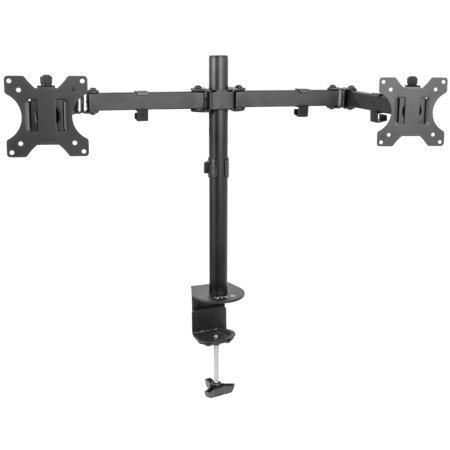 Double Arm Desk Mount - VIVO Full Motion Dual Monitor Desk Mount VESA Stand with Double Center Arm Joint | Fits 13