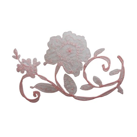 ID 6171 Pink Lace Rose Vine Patch Flower Fancy Bloom Embroidered IronOn Applique