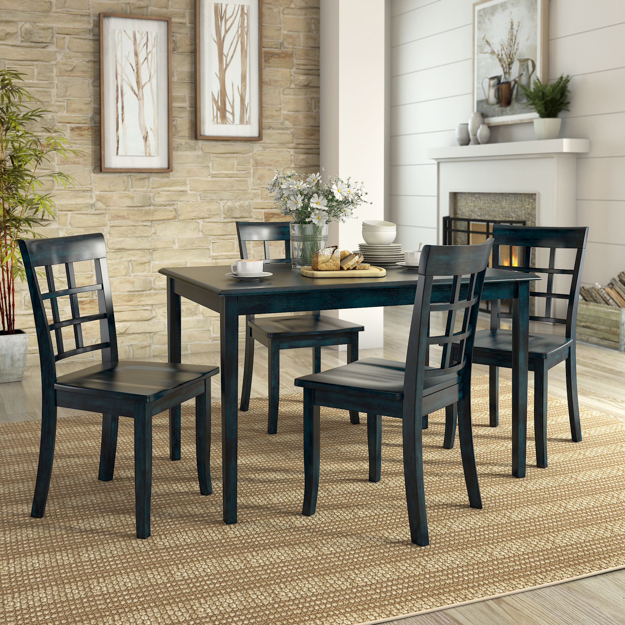 Lexington 5 Piece Dining Set With 4 Window Back Chairs