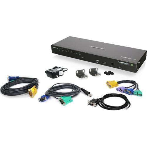 Iogear 8-port Ip Based Kvm Kit With Usb Kvm Cables - 8 Computer[s] - 1 Local User[s] - 1 Remote User[s] - 2046 X 1536 - 1 X Network [rj-45] - 1 X Usb - Rack-mountable (gcs1808ikitu)