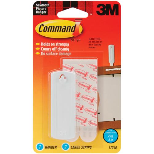 Command Strip Sawtooth Picture Hangers-1 Hanger & 2 Large Strips