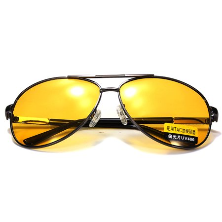 Fashion Men UV400 Yellow Lens Polarized Anti-Glare Night Vision Sunglasses Car Driving (Goggle Bronze Lense)