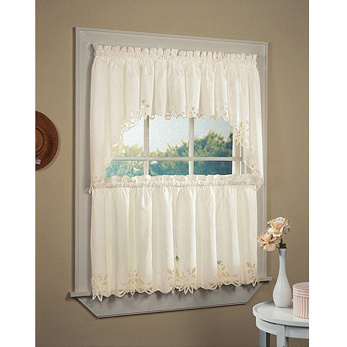 CHF & You Batternburg Kitchen Curtains, Set of 2 or Valance