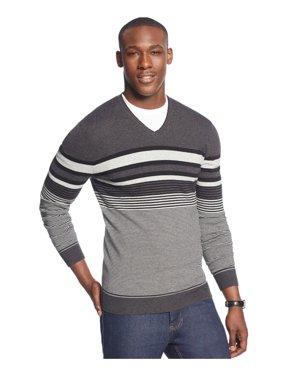 Mens Bold Pop Striped V Neck Pullover Sweater