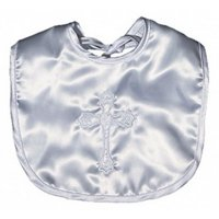 Unisex Baby Satin Christening Embroidered Unisex Bib