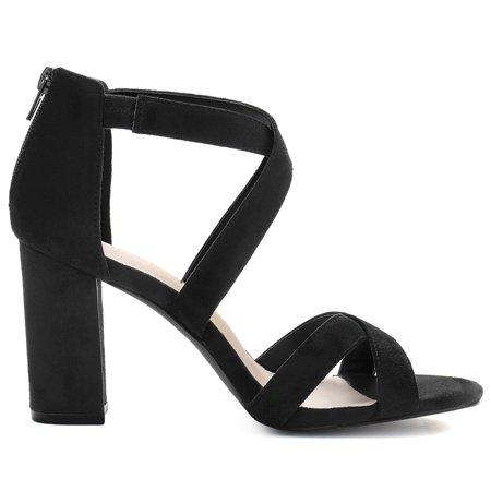 Women's Crisscross Strappy Open Toe Heeled Sandals Black US 8 - image 6 of 7
