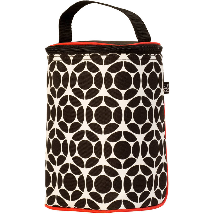 JL Childress 2-Bottle TwoCOOL Baby Bottle Cooler Bag, Black/Red Floral