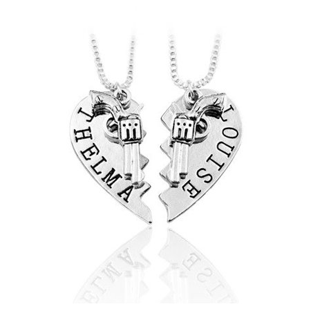 2Pcs Thelma Louise Pendant Necklaces Guns Heart Friendship Adventure Freedom Best Friends Forever  Condition  100  Brand New And High Quality By New Leaf