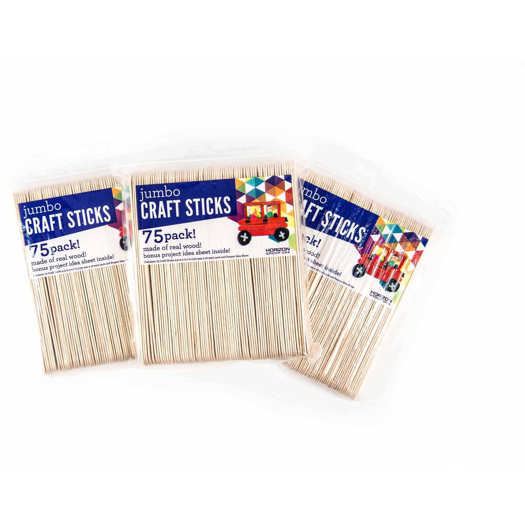 Jumbo Wood Craft Sticks 3PKS - 75ct. Each by Horizon Group USA