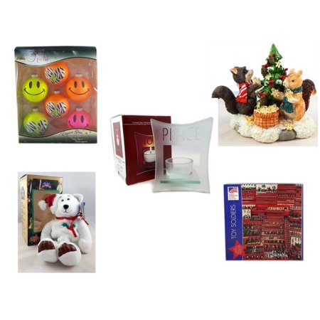 """Christmas Fun Gift Bundle [5 Piece] - Krebs Bright Neon Glass Ornaments Set of 6 - Forest Friends Gingerbread Tree Resin Figurine - Etched Glass """"Peace"""" Window Votive  - Limited Treasures  Edition W"""
