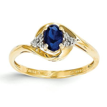 - 14k Yellow Gold Diamond & Sapphire Ring LAL97940