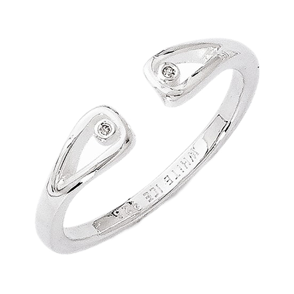 925 Sterling Silver Round Bezel Diamond Ring