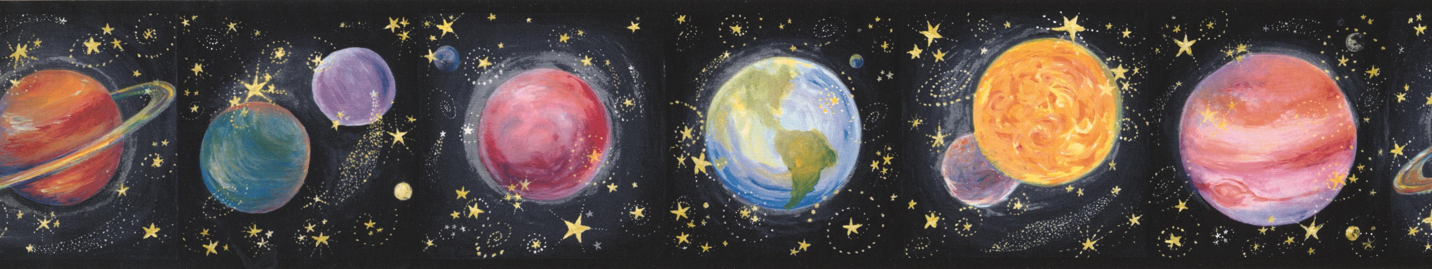 Solar System Planets On Black Wallpaper Border For Kids