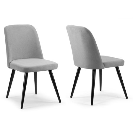 Sensational Set Of 2 Amira Grey Dining Chair With Black Metal Legs Ncnpc Chair Design For Home Ncnpcorg