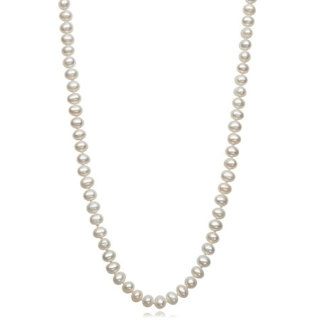 Gold Genuine Cultured Pearl (Children's Genuine Cultured Freshwater Pearl 14K Yellow Gold Strand Necklace,)