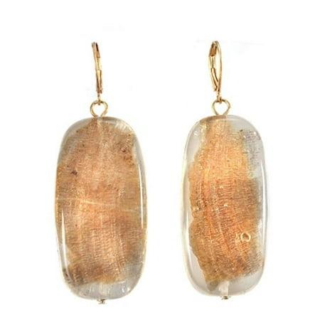 Image of Alexa Starr 4276-E Goldtone Linear Gold Fleck Lucite Drop Earrings