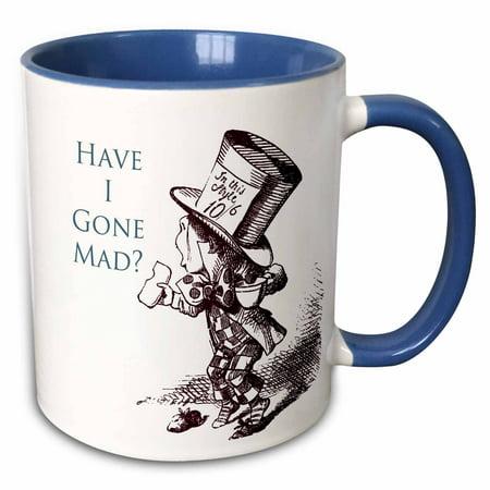 3dRose Mad Hatter Have I gone Mad Alice in Wonderland - Two Tone Blue Mug, 11-ounce](Mad Hatter And Alice In Wonderland)