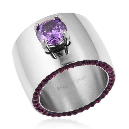 Stainless Steel Round Cubic Zircon CZ Purple Statement Ring for Women Cttw 1.6 Jewelry