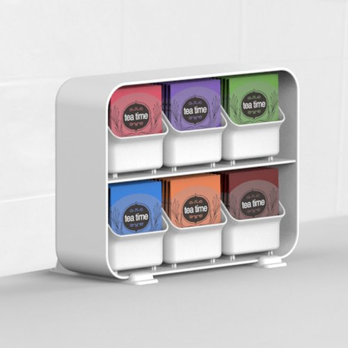 Mind Reader 6 Removable Drawers Tea Bag Holder Organizer, White