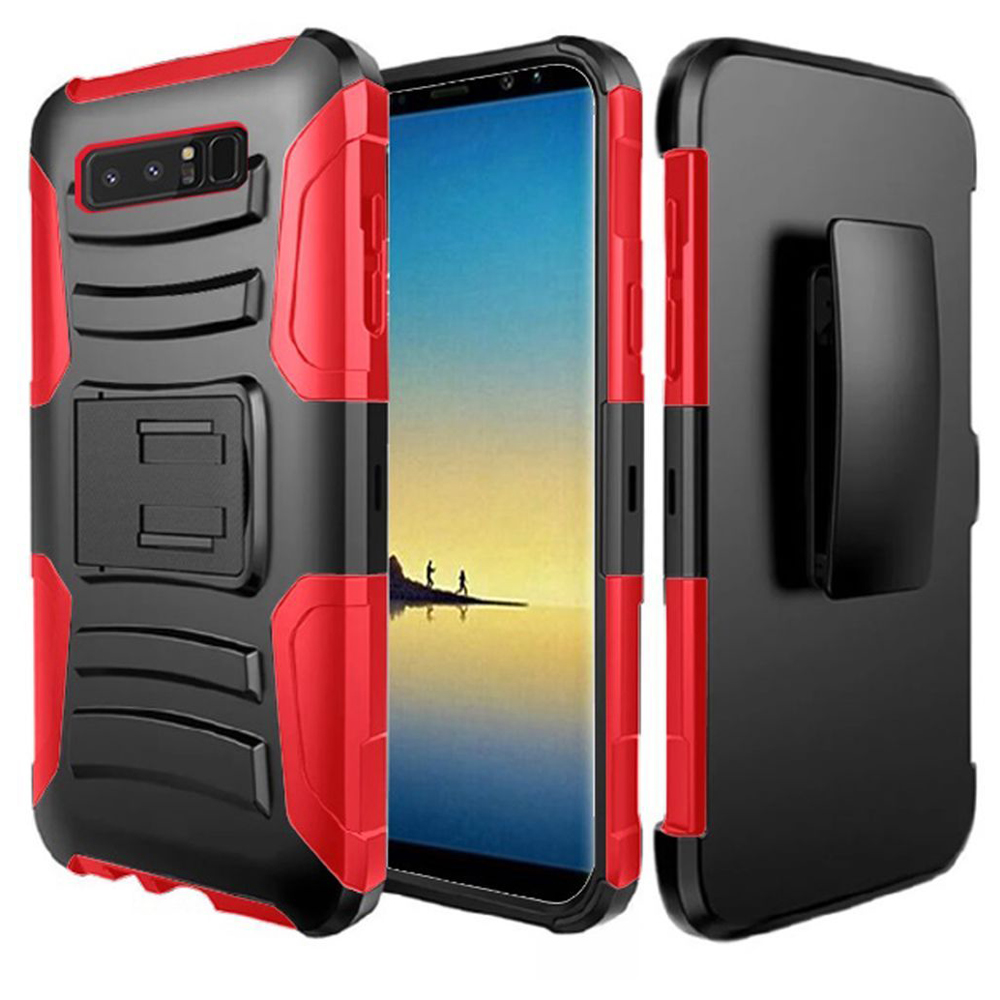 Samsung Galaxy Note 8 Case, Hybrid Rugged Heavy Duty Armor Defender Dual Layer Kickstand Belt Clip Holster Combo for Samsung Galaxy Note 8 - Black/ Red