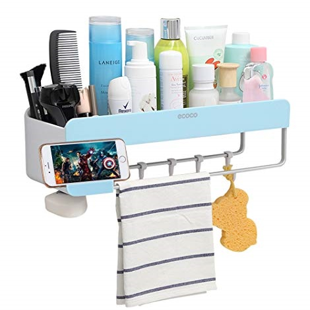 Plastic Wall-mounted Towel Storage Rack Multifunction Floating Shelf Organizer