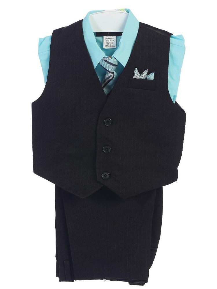 Angels Garment Boys Aqua 4 Piece Pin Striped Vest Set Suit 8-20