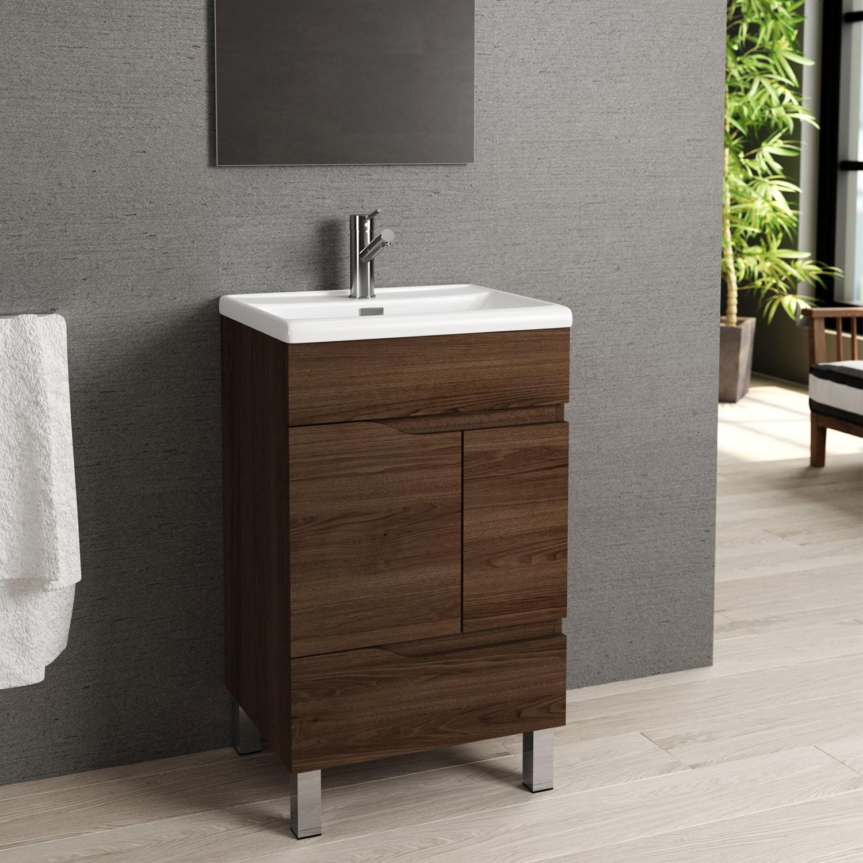 Eviva Charm 20 Walnut Bathroom Vanity With White Integrated Porcelain Sink Walmart Com Walmart Com