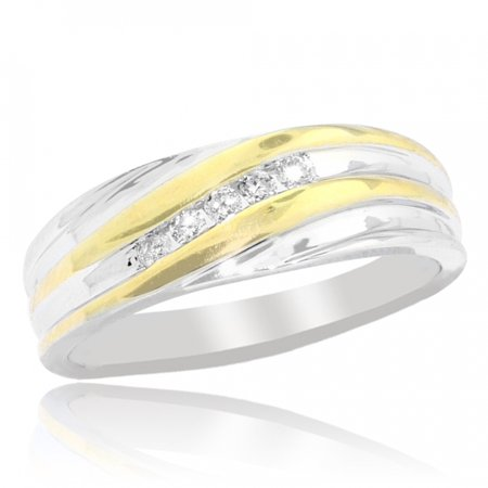 Mens Wedding Band Two Tone 0.15cttww Diamond 10K 7mm Wide Comfort Fit(0.15cttw) 9 7mm Diamond Designer Band
