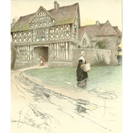 Old Manor Houses 1920 Stokesay Castle Shropshire 2 Stretched Canvas - Cecil Aldin (18 x 24)